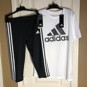Adidas Girls Logo Active Leggings and t-shirt New